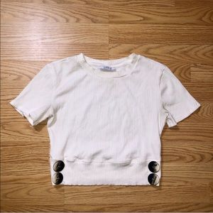 Zara white ribbed buttoned top